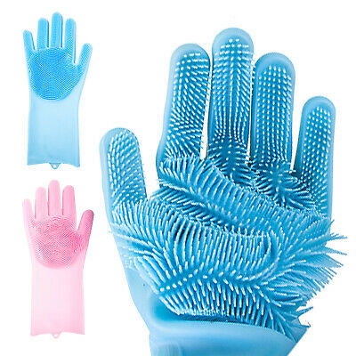 Magic Silicone Rubber Dish Washing Gloves 2-in-1 Scrubber Pet Cleaning Scrubbing
