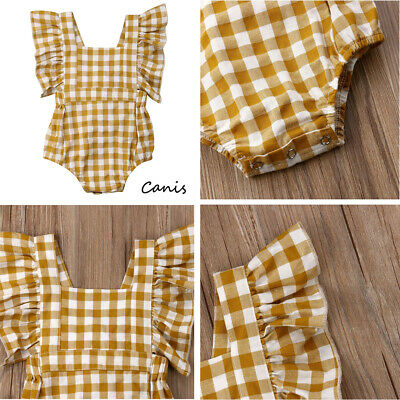 Summer Newborn Infant Toddler Baby Gingham Check Romper Jumpsuit Clothes Outfit