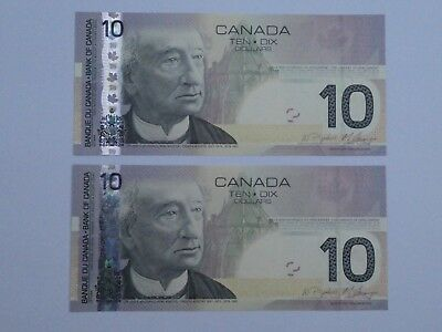 Canada 2005 - 2009 - 2 x $10 notes - UNC - Uncirculated condition