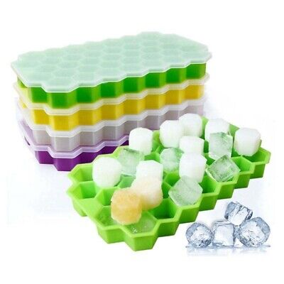 Honeycomb Silicone Flexible Ice Cube Tray Hexagonal Cube with Lid 37 grids Hot