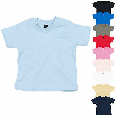 Baby Toddler Boy Girl Plain Short Sleeve Cotton T-Shirt Top Tee Ages 0 to 2