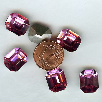 4600 12x10 R *** 4 strass Swarovski fond conique OCTOGONE 12x10 mm ROSE F