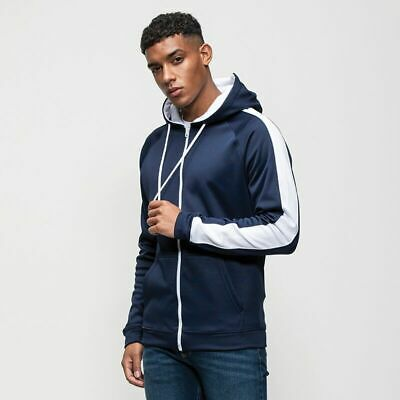 Mens Hoodie Sports Gym Contrast Sports Polyester Zoodie Awdis Full Zip JH066