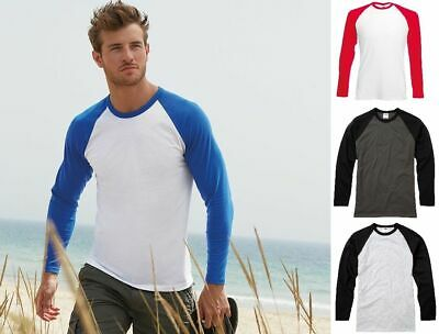 Mens T Shirt Long Sleeve Baseball T Shirt Fruit of the Loom Contrast Top SS028