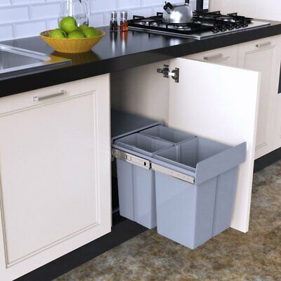 40L Pull Out Integrated Kitchen Cabinet Bin Close Recycling Waste Dust Bins NEW