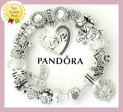 "Pandora Bracelet Silver with ""LOVE STORY""  White with European Charms New"