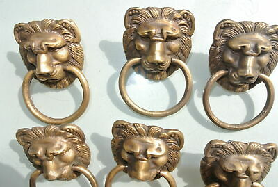 6 LION pulls handles Small heavy  SOLID BRASS old style bolt house antiques