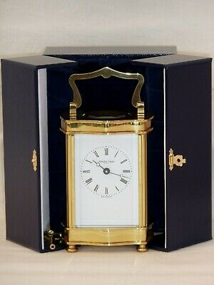 Superb Hamilton & Inches Solid Brass Carriage Mantel Mantle Clock + Display Case
