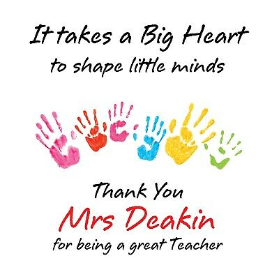 Personalised Teacher Big Heart Thank You Card - Mr, Mrs, Miss, School Assistant