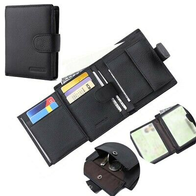 Large Capacity Genuine Leather Mens Trifold Wallet Credit Card Holder Money Coin