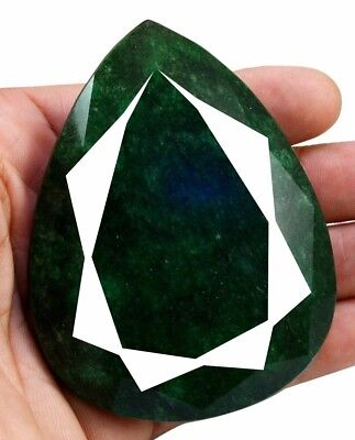 1072ct Big Rare Natural Pear Shape Green Emerald Faceted Loose Gemstone on ebay