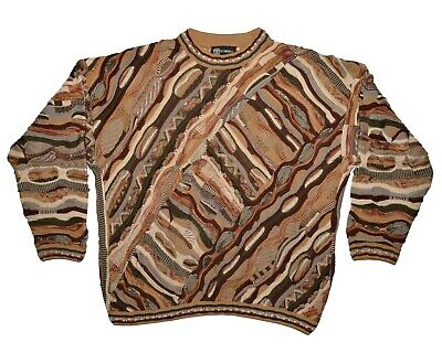 Vintage Tundra Canada XL 3D Coogi Style Sweater 90s Biggie Cosby Hip Hop Cotton