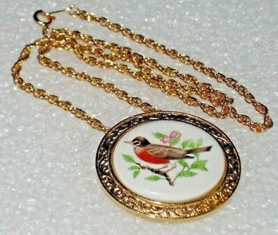 BIRD BROOCH NECKLACE Pendant Pin Jewelry ROBIN Welcome Spring 18
