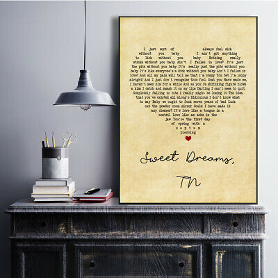 Sweet Dreams TN Vintage Heart Song Lyric Quote Print