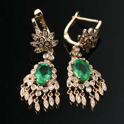 Natural Emerald 5.5CT 5.20G 14k Solid Yellow Gold Cluster Dangle Stud Earrings