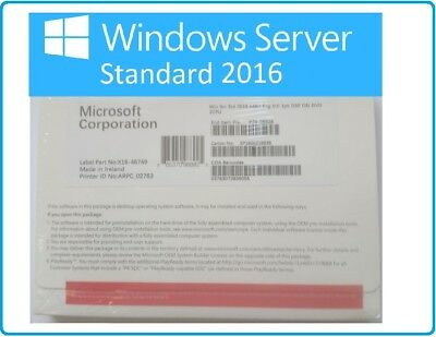 Microsoft Windows Server 2016 Standard 2xCPU 16CORES 2VM 64BIT DVD & COA PACK
