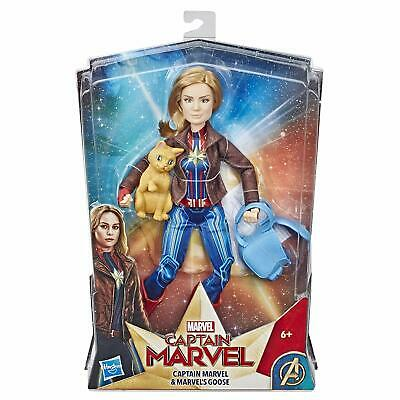 CAPTAIN MARVEL Movie Super Hero Doll with Goose the Cat - BRAND NEW 2019