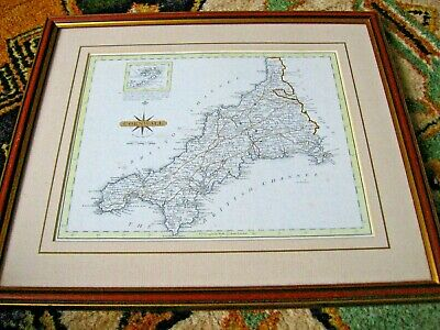 Antique Map of Cornwall by John Cary 18th Century from his 1787 Engraving Framed