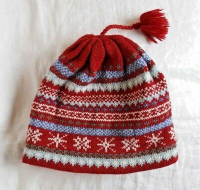 fb5726e6632 Turtle Fur Knit Ski Hat Beanie Red White Snowflake 100% Wool Adult One Size