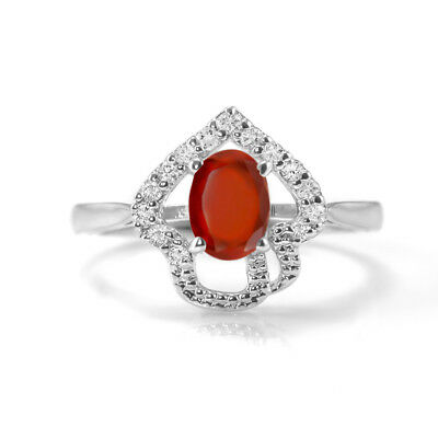 Hessonite Garnet 925 Sterling Silver Ring Orange Natural Size 4 5 6 7 8 9 10 11