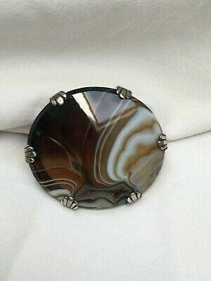 Antique Victorian C1860  Silver banded agate oval brooch 3.7cm in good condition