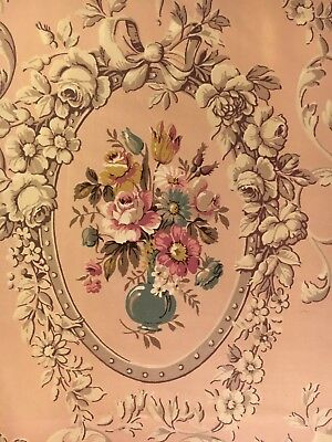 """Vintage Early French Chintz Fabric - 44"""" X 44"""""""