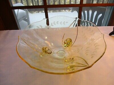 Vtg. ~ Clear/Yellow 3 Footed Depression Glass W/Etched Flowers & Scalloped Edge