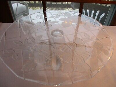 """Vtg ~ 13"""" Clear Glass Footed Cake Dish ~ Beautiful Raise Dogwood Floral Design"""
