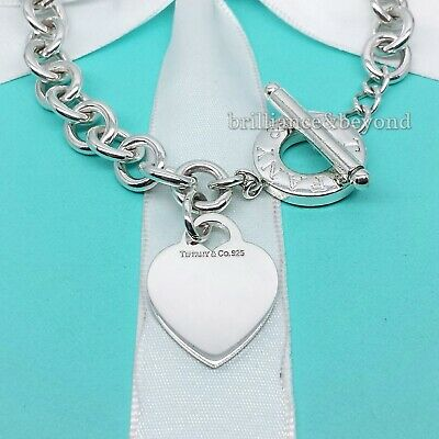 8d350562d TIFFANY & CO. Heart Tag Toggle Necklace Choker Chain Sterling Silver ...