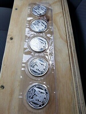 A Lot of 5 1 oz .999 Fine Silver Rounds- APMEX Rounds