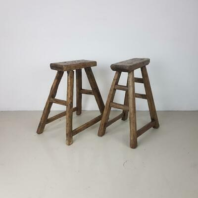 Pair Of Vintage Rustic Antique Waxed Wooden Stools Milking Large Wp32