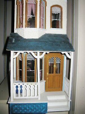 """Fully furnished vintage wooden doll house 1:12 scale 36"""" x 36"""" x 9"""""""