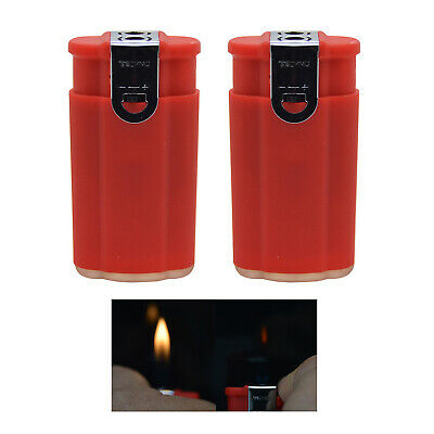 "2 pcs ""Red"" Dual Flame Torch Soft & Windproof Flame Butane Refillable Lighter"