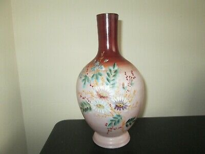 Victorian opaque opaline glass vase with hand-painted floral decoration 9.5 Inch
