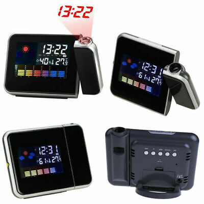 LED Color Digital LCD Snooze Alarm Clock Weather Display Projection Backlight