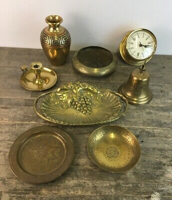 Job Lot Of Vintage Brass To Include Titanic Bell, Clock & Dishes.