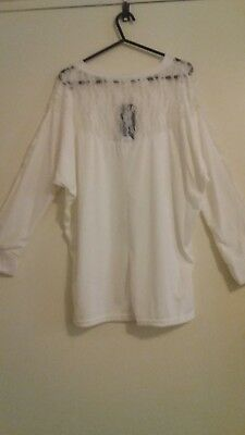Women's White, Long Sleeve Top with Lace Shoulders - Size 2XL