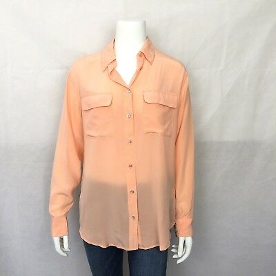 ee9f554303f15 Equipment Femme Blouse Small Long Sleeve Button Down Coral Silk Front  Pockets
