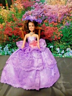 Barbie Doll Clothes - Purple Outfit with dress,shoes,hat, jewellery