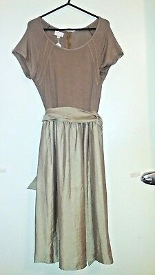 Beige Waisted, Maternity Dress with Tie and Round Neckline - size S