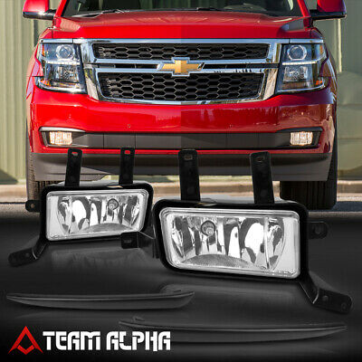 Fits 2015-2020 Chevy Suburban/Tahoe[Clear]Black Trim Fog Light w/Switch+Harness