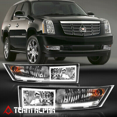 Fits 2007-2014 Cadillac Escalade Clear /<LED DRL/> Bumper Fog Light Driving Lamp