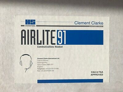 Clement Clarke AirLite 91 Military, Aviation (CAA/FAA Aproved) Headset.