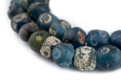 Authentic Ancient Roman Eye Beads Long Strand 14mm Mali African Blue Round Glass