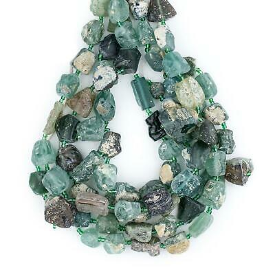 Roman Glass Chunk Beads 14mm Afghanistan Green Nugget Large Hole 30 Inch Strand