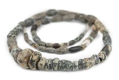 Ancient Mali Granite Stone Beads African Grey Mixed Large Hole 38 Inch Strand