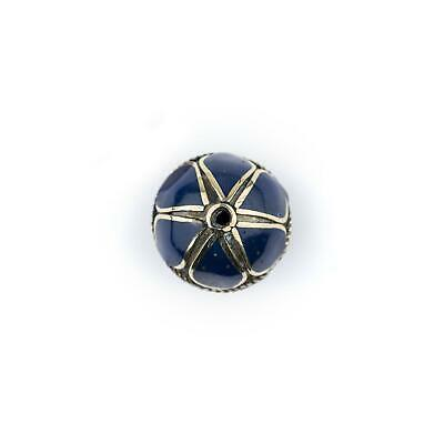 Lapis-Inlaid Afghan Tribal Silver Bead 25mm Afghanistan Blue Round White Metal