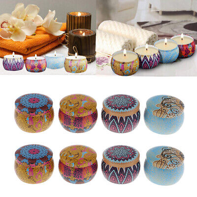 8 National Style Scented Candle Natural Soy Wax Portable Wedding Tin Candle