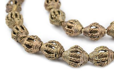 Beads African Brass Coiled Oval Beads 32-38mm