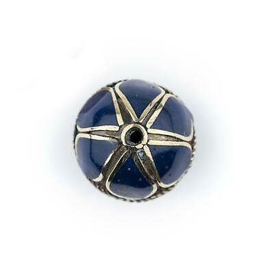 Lapis-Inlaid Afghan Tribal Silver Bead 20mm Afghanistan Blue Round White Metal